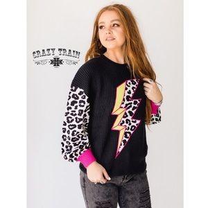LAST 1 Crazy Train Cheetah Lighting Bolt Sweater